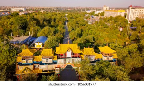 Russia, Elista, Kalmykia - September 12, 2017: The Golden Gate is a Buddhist architectural structure, located in Elista, Kalmykia. Russia