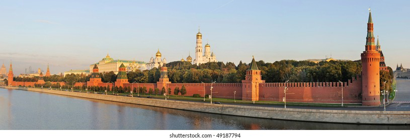 Russia. Ensemble of Moscow Kremlin across Moskva river at a sunrise. Panorama