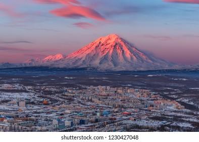 Russia, the Far East, Kamchatka, the city of Petropavlovsk-Kamchatsky on the background of the Koryaksky volcano