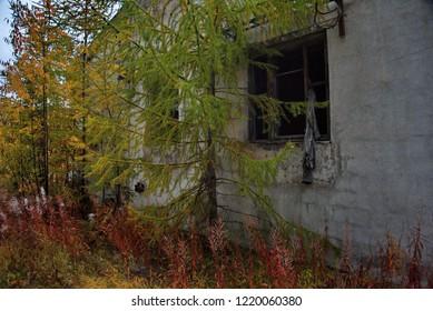 "Russia. Far East, Magadan region. Abandoned villages along Federal highway M56 ""Kolyma"" Yakutsk-Magadan (2028 km)"