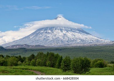 Russia, Far East. Nature of Kamchatka.The volcano of Klyuchevskaya Hill (4800 m) is the highest active volcano of Eurasia.