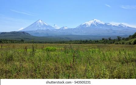 Russia, Far East. Nature of Kamchatka.Klyuchevsky group of volcanoes.The volcano of Klyuchevskaya Hill (4800 m) is the highest active volcano of Eurasia.