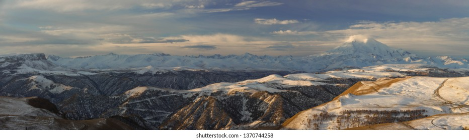 Russia. The first snow in late autumn in the Caucasus Mountains and on Mount Elbrus.