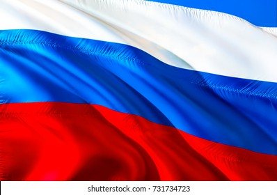 Russia flag. 3D Waving flag design. Red, white and blue flag. The national symbol of Russia Federation background wallpaper. 3D Waving Red, white blue