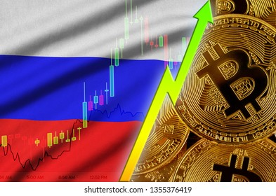 Russia flag and cryptocurrency growing trend with many golden bitcoins