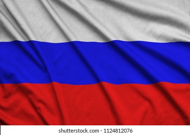 Russia flag  is depicted on a sports cloth fabric with many folds. Sport team banner