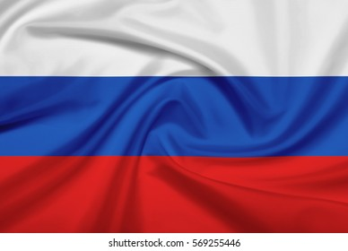 Russia flag with fabric texture. Flag of Russia. 3D illustration.