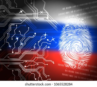 Russia Flag And Fingerprint Showing Hacking 3d Illustration. American Democratic Political Campaign Hacked By Online Cyber Criminals.