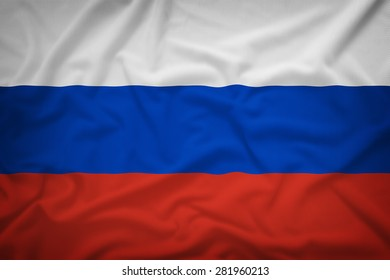 Russia flag on the fabric texture background,Vintage style