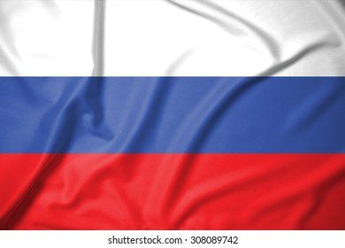 russia flag on soft and smooth silk texture