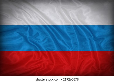 Russia flag pattern on the fabric texture ,vintage style
