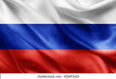 Russia flag of silk