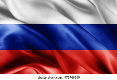 Russia flag of silk with copyspace for your text or images-3D illustration