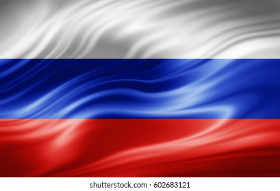 Russia  flag of silk-3D illustration