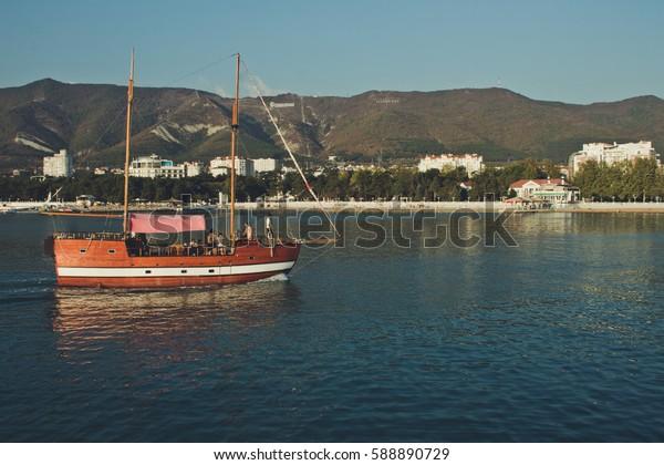 RUSSIA, Gelendzhik - September 27, 2015: Gelendzhik, tourist boat,  black sea, Krasnodar region