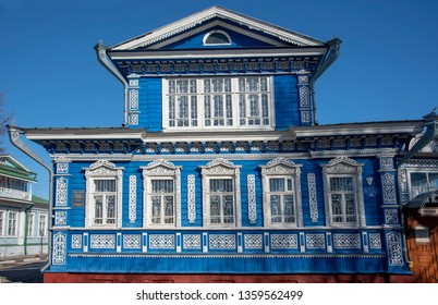 Russia, Gorodets, samovar Museum, March 29, 2019.Beautiful bright building in Russian style with carved platbands.Inside is a Museum of samovars.