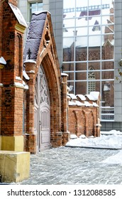 Russia, Irkutsk - January 13, 2013: Part of Organ Hall. Irkutsk Regional Philharmonic. Roman Catholic Polish Church in winter, Siberia