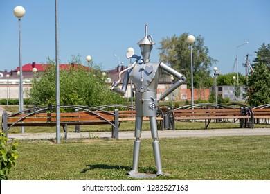 Russia, Ishim - July 21, 2018: Fairy-tale character - Iron Man (Woodcutter). Festive park