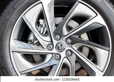 Russia, Izhevsk - April 21, 2018:Showroom Lexus. Alloy wheel of the new vehicle Lexus.