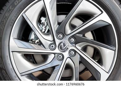 Russia, Izhevsk - April 21, 2018:Showroom Lexus. The wheel disk of a new modern Lexus car.