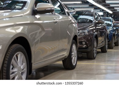 Russia, Izhevsk - December 15, 2018: LADA Automobile Plant Izhevsk. New modern cars Lada ready for sale.
