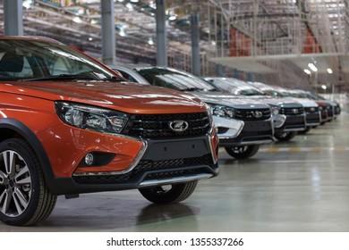 Russia, Izhevsk - December 15, 2018: LADA Automobile Plant Izhevsk. New modern cars Lada Vesta ready for sale.