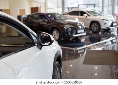 Russia, Izhevsk - July 21, 2019: Lexus showroom. New modern cars in the dealer showroom. Famous world brand.