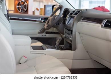Russia, Izhevsk - October 20, 2018: Showroom Lexus. Interior of new vehicle Lexus LX570. Famous world brand.
