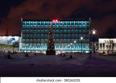 ��?��?�����?���¬, Russia, JANUARY 17,2016: Open Society ' the Perm motors ' and a New Year's tree at night