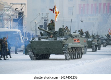 SТ.PETERSBURG, RUSSIA - JANUARY 24, 2019: A convoy of infantry fighting vehicles  BMP-3 at a rehearsal for the military parade in honor of the Day of the complete lifting of the blockade of Leningrad