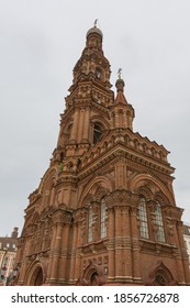 Russia June 24, 2020 Kazan, a view of the brick bell tower on Bauman Street, photo was taken on a cloudy day