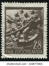 RUSSIA KALININGRAD, 12 NOVEMBER 2016: stamp printed by Yugoslavia, shows naval scene, circa 1952