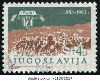 RUSSIA KALININGRAD, 12 NOVEMBER 2016: stamp printed by Yugoslaviya, shows mountains depicted on the engraving by Valvasar, circa 1983