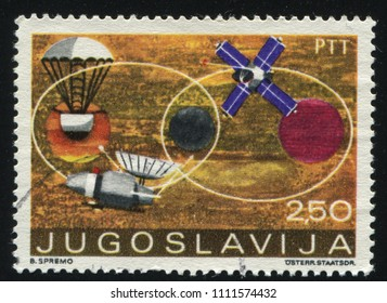 RUSSIA KALININGRAD, 12 NOVEMBER 2016: stamp printed by Yugoslavia, shows various spacecraft, circa 1971