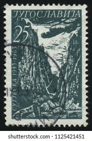 RUSSIA KALININGRAD, 12 NOVEMBER 2016: stamp printed by Yugoslavia, shows National Park Sutjeska, circa 1963