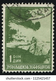 RUSSIA KALININGRAD, 12 NOVEMBER 2016: stamp printed by Yugoslavia, shows port of rab, circa 1937