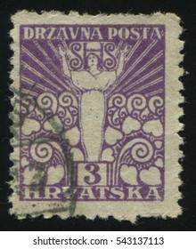 RUSSIA KALININGRAD, 12 NOVEMBER 2016: stamp printed by Yugoslavia, shows allegory of freedom, circa 1919