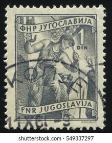 RUSSIA KALININGRAD, 12 NOVEMBER 2016: stamp printed by Yugoslavia, shows electrification, circa 1950