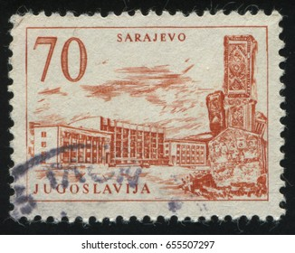 RUSSIA KALININGRAD, 12 NOVEMBER 2016: stamp printed by Yugoslavia, shows the railroad Station in Sarajevo, circa 1958