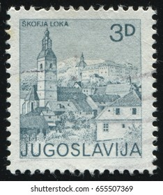 RUSSIA KALININGRAD, 12 NOVEMBER 2016: stamp printed by Yugoslavia, shows the City of Skofja Loka, circa 1982