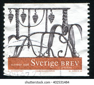RUSSIA KALININGRAD, 12 OCTOBER 2013: stamp printed by Sweden, shows Wrought iron ornamental designs, circa 1998