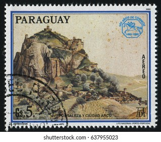 RUSSIA KALININGRAD, 15 APRIL 2017: stamp printed by Paraguay, shows Painting Fort and City of Arco by Albrecht Durer, circa 1990