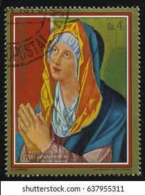 RUSSIA KALININGRAD, 15 APRIL 2017: stamp printed by Paraguay, shows Painting Virgin Praying by Albrecht Durer, circa 1979