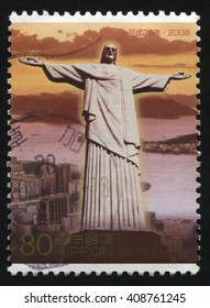 RUSSIA KALININGRAD, 18 MARCH 2016: stamp printed by Japan shows jesus statue, circa 2008