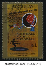 RUSSIA KALININGRAD, 19 APRIL 2017: stamp printed by Paraguay, shows poster devoted to soccer world cup, circa 1958