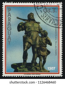 RUSSIA KALININGRAD, 19 APRIL 2017: stamp printed by Paraguay, shows monument to William Tell, circa 1990