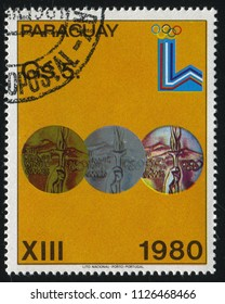 RUSSIA KALININGRAD, 19 APRIL 2017: stamp printed by Paraguay, shows Gold, silver and Bronze medals, circa 1980