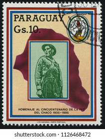 RUSSIA KALININGRAD, 19 APRIL 2017: stamp printed by Paraguay, shows soldier and the map, circa 1985