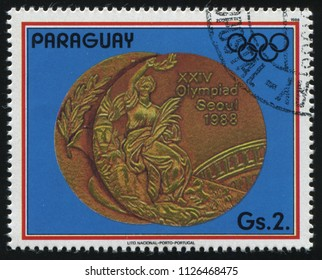 RUSSIA KALININGRAD, 19 APRIL 2017: stamp printed by Paraguay, shows Olympic medals in Seoul, circa 1988