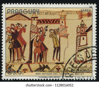 RUSSIA KALININGRAD, 19 APRIL 2017: stamp printed by Paraguay, shows Bayeux Tapestry devoted to Halley's Comet, circa 1986